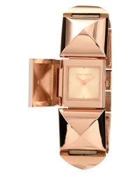 Vince Camuto - Pink Womens Rose Goldtone Pyramid Covered Link Bracelet 25x22mm Vc - Lyst