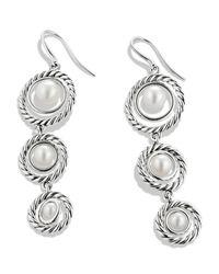 David Yurman | White Cable Pearl Triple-Drop Earrings | Lyst