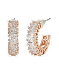 Betsey Johnson | Metallic Cz Rose Gold Hoop Earrings | Lyst