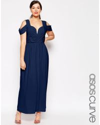 ASOS | Blue Curve Wedding Maxi Dress With Drape Cold Shoulder | Lyst