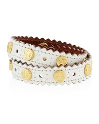 Tory Burch White Perforated Double-wrap Leather Logo Bracelet