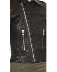 RTA - Leather Biker Jacket - Debosse Snake Black - Lyst