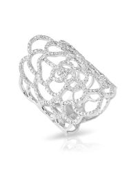 Anne Sisteron | Metallic 14kt White Gold Diamond Camellia Ring | Lyst