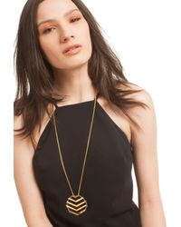 Trina Turk | Metallic Chevron Pendant Necklace | Lyst
