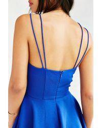 Silence + Noise Blue Square-neck Strappy Skater Dress