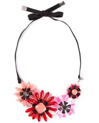 P.A.R.O.S.H. - Red Flower Ribbon Necklace - Lyst