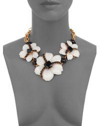 Oscar de la Renta Black Jewel & Cabochon Flower Necklace