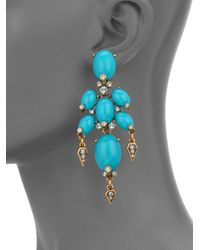 Oscar de la Renta | Blue Oval Cabochon Drop Earrings | Lyst