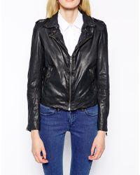 Muubaa Blue Sabi Leather Biker Jacket