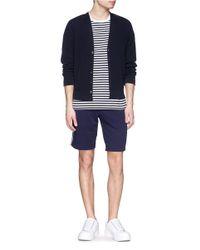 Moncler Blue Side Stripe Cotton Sweat Shorts for men