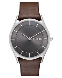 Skagen - Metallic 'holst' Leather Strap Watch - Lyst