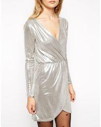 ASOS - Metallic Sexy Wrap Mini Dress - Lyst