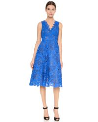 Monique Lhuillier | Blue Guipure Tea Length Dress | Lyst