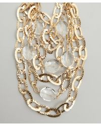 R.j. Graziano | Metallic Gold Hammered Link And Crystal Layered Necklace | Lyst
