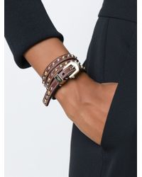Givenchy - Brown Studded Wrap Bracelet - Lyst