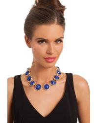Trina Turk Blue Lg Round Set Stones In Crystal Bezel