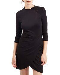 TOPSHOP | Orange Faux Wrap Body-con Dress | Lyst