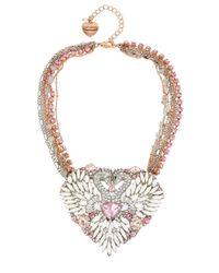 Betsey Johnson Multicolor Ballerina Rose Swan Statement Necklace