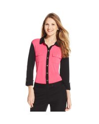 Jones New York - Black Signature Petite Threequartersleeve Colorblocked Blouse - Lyst