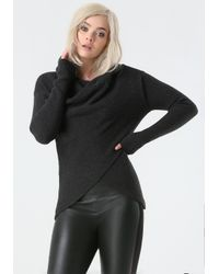 Bebe Gray Heather Wrap Sweater