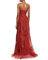 Elie Saab - Embroidered Strapless Silk-blend Gown - Lyst