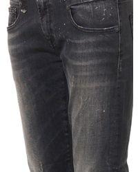 R13 Black Distressed Mid-Rise Boy Skinny Jeans