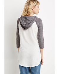 Forever 21 - White Hooded Baseball Tee - Lyst