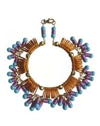 Kirsty Ward Blue Wire Looped Round Necklace With Crystals - Last One