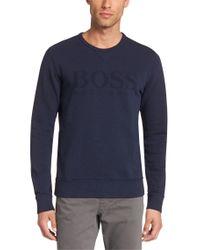 BOSS Blue Slim-fit Sweatshirt In Cotton: 'abruzzi 17' for men