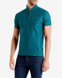 Ted Baker - Blue Geo Textured Polo Shirt for Men - Lyst