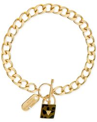 Guess - Metallic Gold-tone Leopard Print Lock Necklace - Lyst