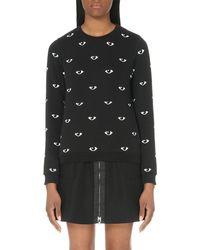 KENZO | Black Eye-print Cotton-jersey Sweatshirt | Lyst
