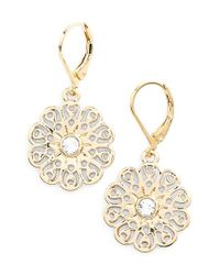 Kate Spade | Metallic 'strike Gold' Drop Earrings - Clear | Lyst