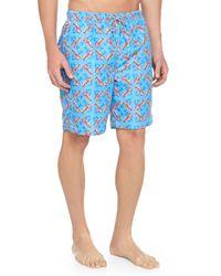 Peter Millar - Blue Lobster-Print Swim Trunks for Men - Lyst