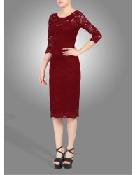 Jolie Moi Red Scalloped Lace Dress