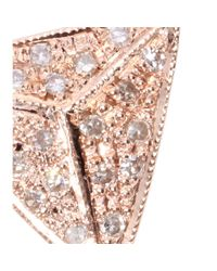 Jacquie Aiche Pink 14kt Rose Gold Single Triangle Necklace with White Diamonds