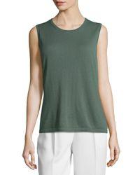 Lafayette 148 New York | Green Flannel Wool Shell | Lyst