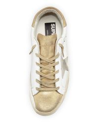 Golden Goose Deluxe Brand - Metallic Star-embellished Leather High-top Sneaker - Lyst
