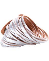 Linea Pelle   Metallic Double Wrap Sliced Bracelet   Lyst