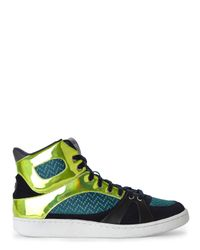 Just Cavalli | Blue Green & Navy High Top Sneakers for Men | Lyst