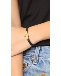 Tory Burch | Black Skinny Lock Leather Bracelet - Tiger's Eye/gold | Lyst