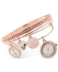 Style & Co. | Pink Women's Rose Gold-tone Charm 3-pc. Bangle Bracelet Watch Set 20mm Sy012rg, Only At Macy's | Lyst