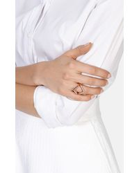 Karen Millen - Metallic The Angle Crystal Ring - Lyst