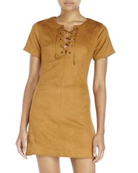 Re:named - Brown Lace-Up Faux Suede Dress - Lyst