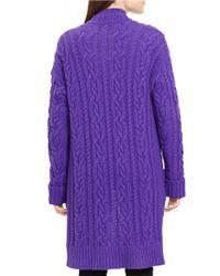 Lauren by Ralph Lauren | Purple Cable-knit Open-front Cardigan | Lyst