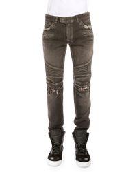Balmain - Black Distressed Denim Moto Jeans - Lyst