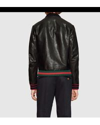 Gucci | Black Leather Bomber Jacket With Web for Men | Lyst