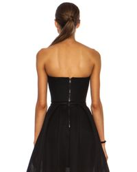 Nicholas - Black Embroidered Mesh Mini Bustier Top - Lyst