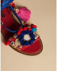 Dolce & Gabbana - Red Pom-Pom Leather Lace-Up Sandals - Lyst
