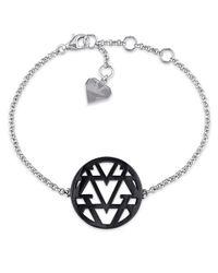 Versace - Metallic Openwork Bracelet In Sterling Silver With Black Rhodium - Lyst